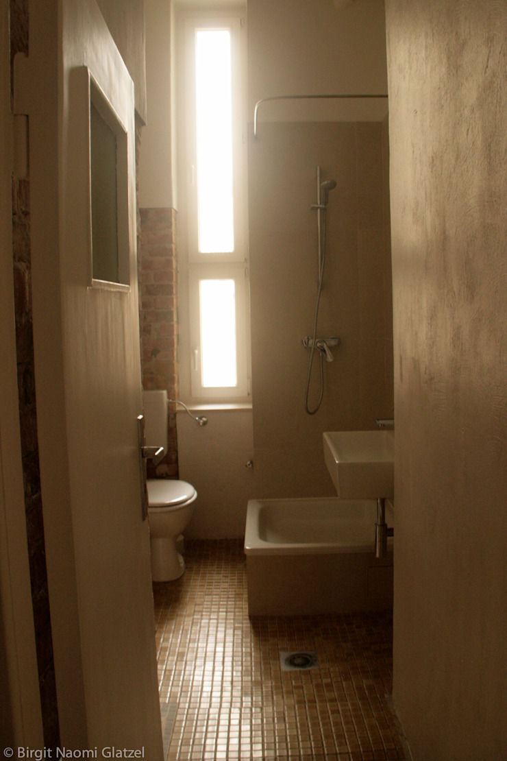 Birgit Glatzel Architektin Industrial style bathroom Tiles Brown