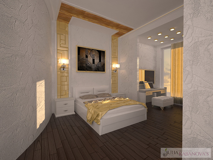 Дизайн проект на ул.Новый Арбат Спальня в стиле модерн от JULIA KABANOVA's DESIGN STUDIO Модерн