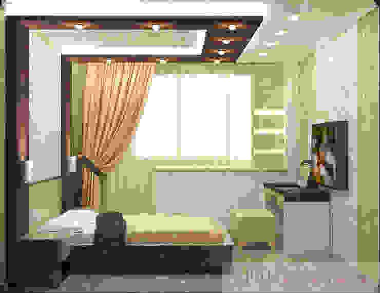 дизайн проект на Коломенской набережной Спальня в стиле модерн от JULIA KABANOVA's DESIGN STUDIO Модерн