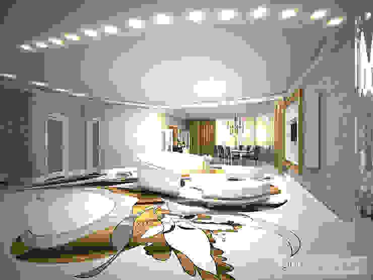 дизайн проект на ул.Строителей Гостиные в эклектичном стиле от JULIA KABANOVA's DESIGN STUDIO Эклектичный
