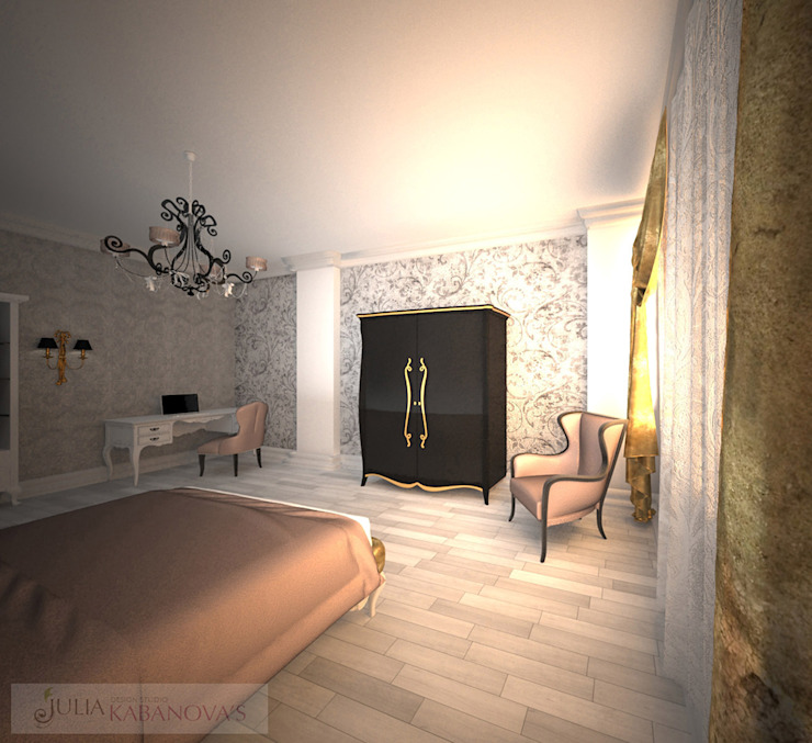 дизайн проект на ул.Строителей Спальня в эклектичном стиле от JULIA KABANOVA's DESIGN STUDIO Эклектичный