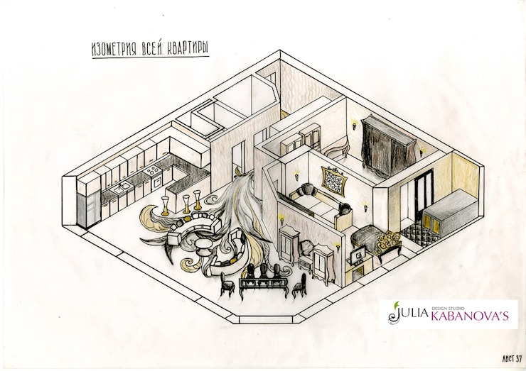 дизайн проект на ул.Строителей от JULIA KABANOVA's DESIGN STUDIO Эклектичный