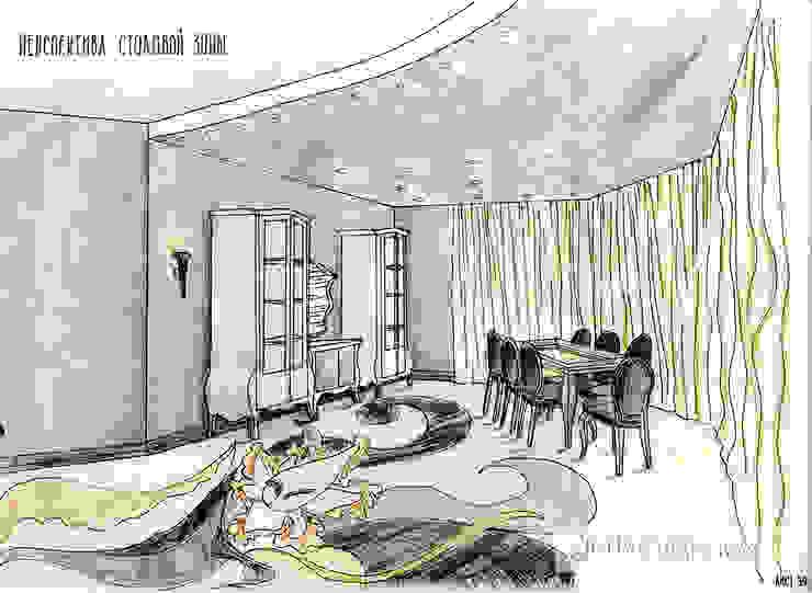 дизайн проект на ул.Строителей Столовая комната в классическом стиле от JULIA KABANOVA's DESIGN STUDIO Классический