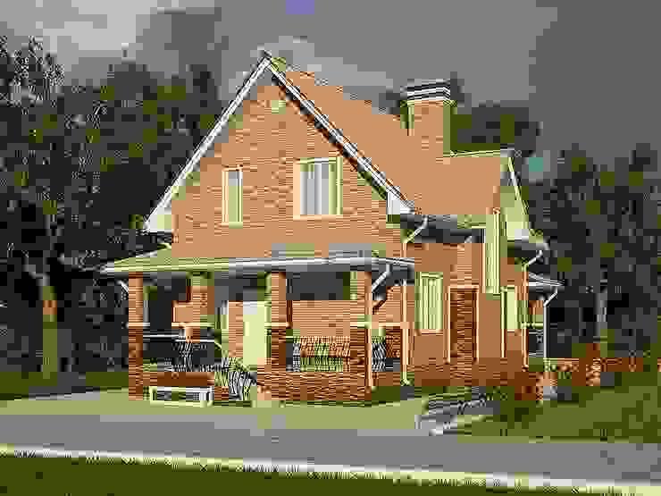 Мансардный дом с двумя террасами Дома в классическом стиле от Проектное бюро 'АДЕКО', г. Казань Классический Кирпичи