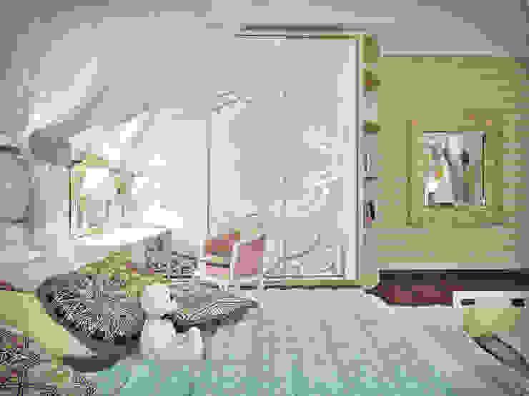 Дизайн проект дома – 2 этаж – 106,9 м2 Детские комната в эклектичном стиле от Artstyle Эклектичный