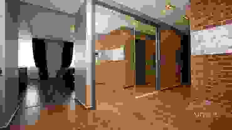 Industrialny korytarz, przedpokój i schody od Дизайн-студия «ARTof3L» Industrialny