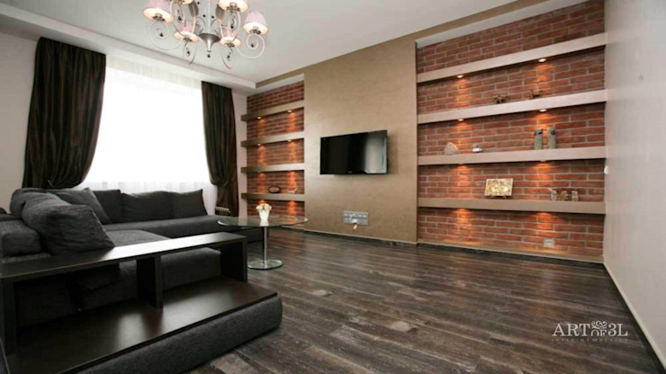Квартира на Плющихе Гостиная в стиле лофт от Дизайн-студия «ARTof3L» Лофт Кирпичи