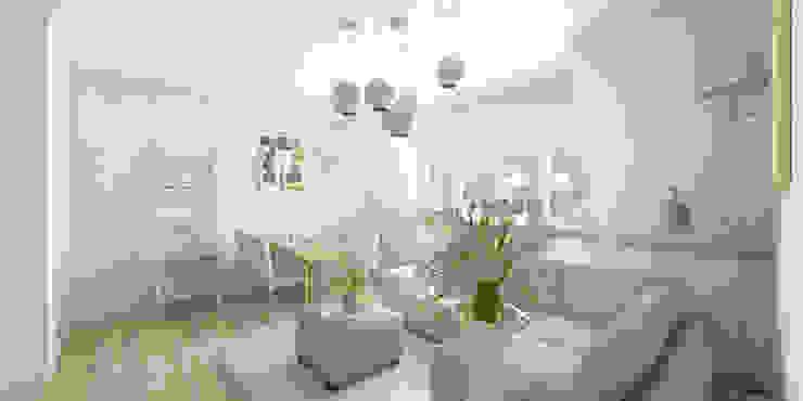 Jasne mieszkanie na poddaszu Nowoczesny salon od Pracownia Aranżacji Wnętrz 'O-Kreślarnia' Nowoczesny