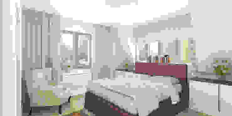 Jasne mieszkanie na poddaszu Nowoczesna sypialnia od Pracownia Aranżacji Wnętrz 'O-Kreślarnia' Nowoczesny