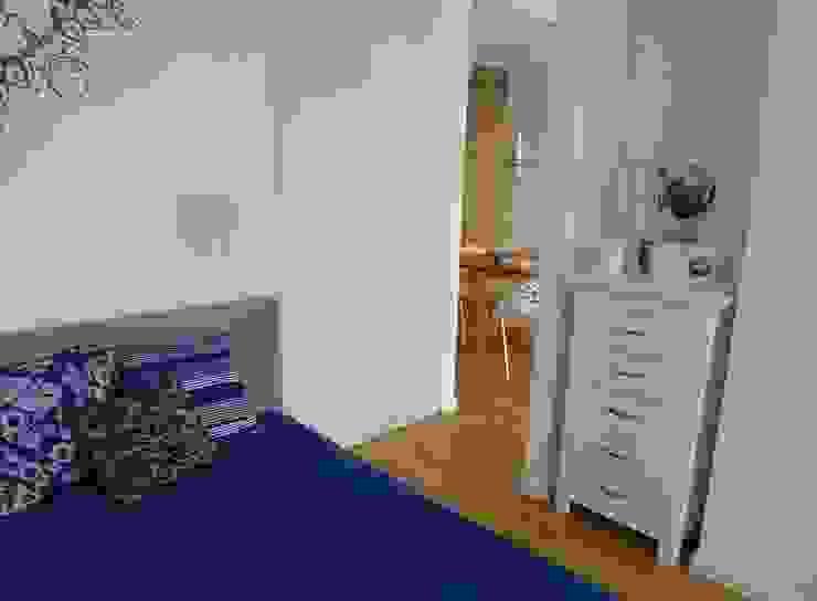 mieszkanie retro Nowoczesna sypialnia od Archomega Nowoczesny