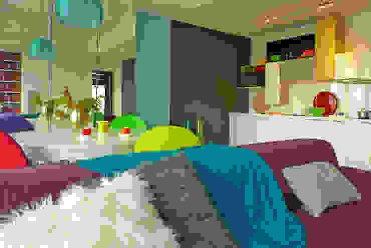 mieszkanie w żywych kolorach Nowoczesny salon od Archomega Nowoczesny