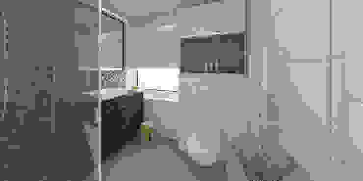 Słoneczne mieszkanie z żółtym akcentem Skandynawska łazienka od Pracownia Aranżacji Wnętrz 'O-Kreślarnia' Skandynawski
