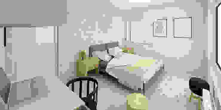Słoneczne mieszkanie z żółtym akcentem Skandynawska sypialnia od Pracownia Aranżacji Wnętrz 'O-Kreślarnia' Skandynawski