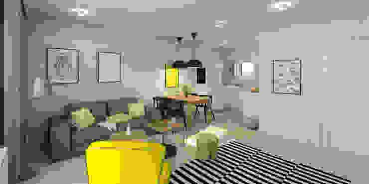 Słoneczne mieszkanie z żółtym akcentem Skandynawski salon od Pracownia Aranżacji Wnętrz 'O-Kreślarnia' Skandynawski