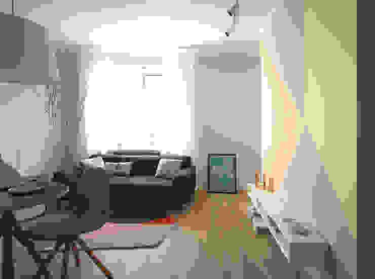 mieszkanie w stonowanej kolorystyce Nowoczesny salon od Archomega Nowoczesny