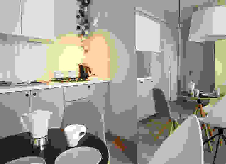 mieszkanie w stonowanej kolorystyce : styl , w kategorii Kuchnia zaprojektowany przez Archomega,Nowoczesny