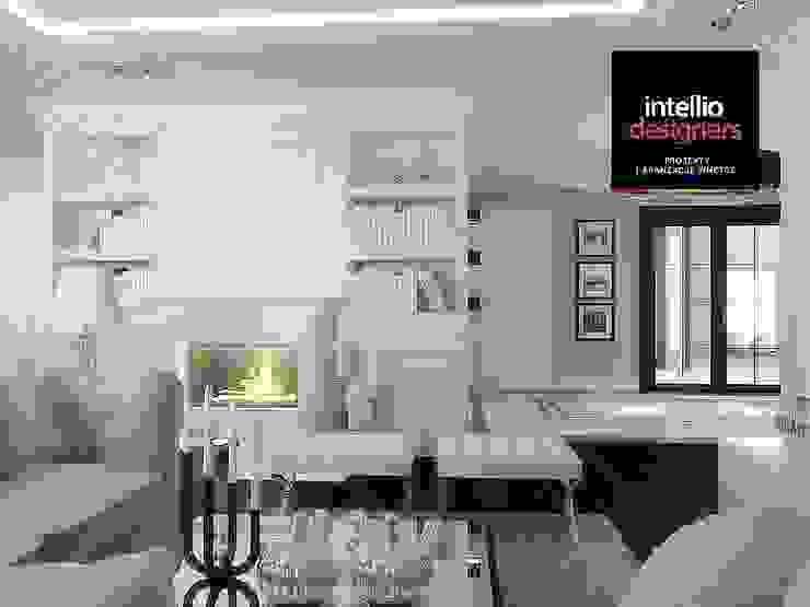 Stylowy salon z kominkiem od Intellio designers