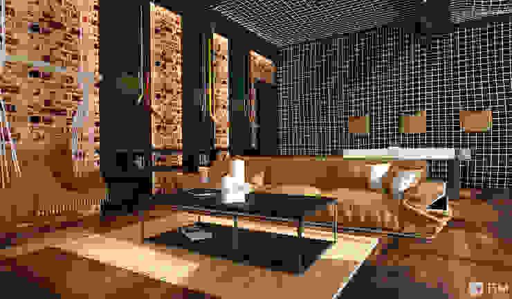 Эксклюзивный дизайн-проект дома в стиле эклектика Гостиные в эклектичном стиле от GM-interior Эклектичный