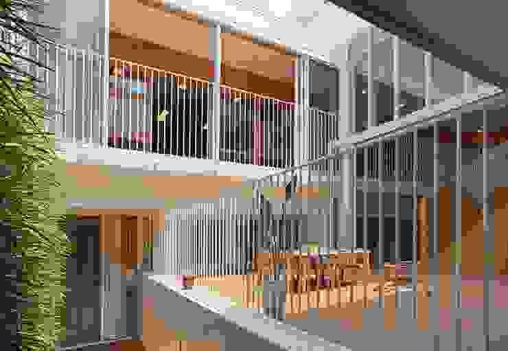 中庭 モダンな 壁&床 の フィールド建築設計舎 モダン タイル
