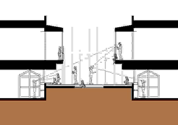 中庭断面図1 モダンな 壁&床 の フィールド建築設計舎 モダン 木 木目調