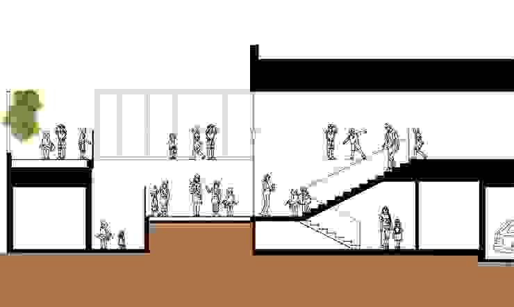 中庭断面図2 モダンな 壁&床 の フィールド建築設計舎 モダン 木 木目調