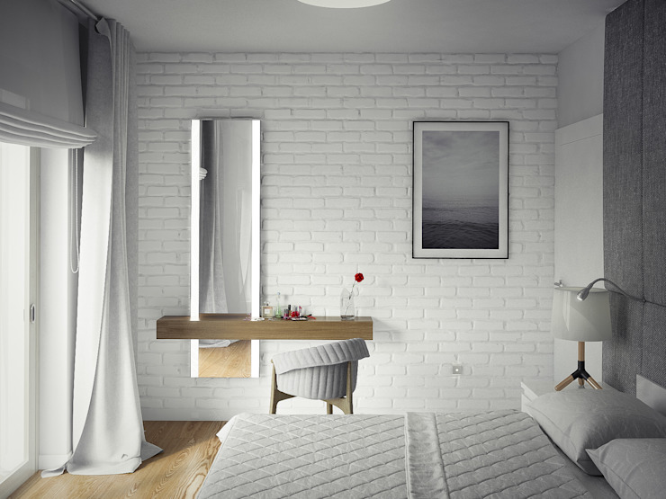 PROJEKT WNĘTRZ DOMU JEDNORODZINNEGO Nowoczesna sypialnia od Kunkiewicz Architekci Nowoczesny