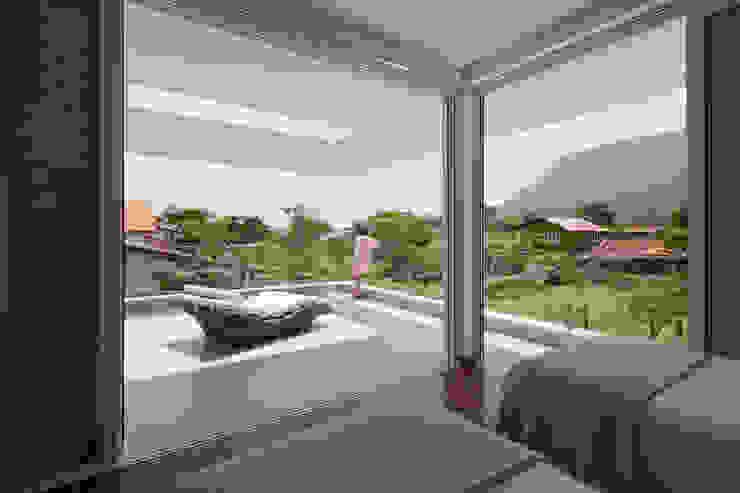 モダンデザインの テラス の Conrado Ceravolo Arquitetos モダン