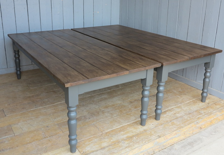 Large Plank Top Kitchen Farmhouse Table With Turned Legs UKAA | UK Architectural Antiques KitchenTables & chairs