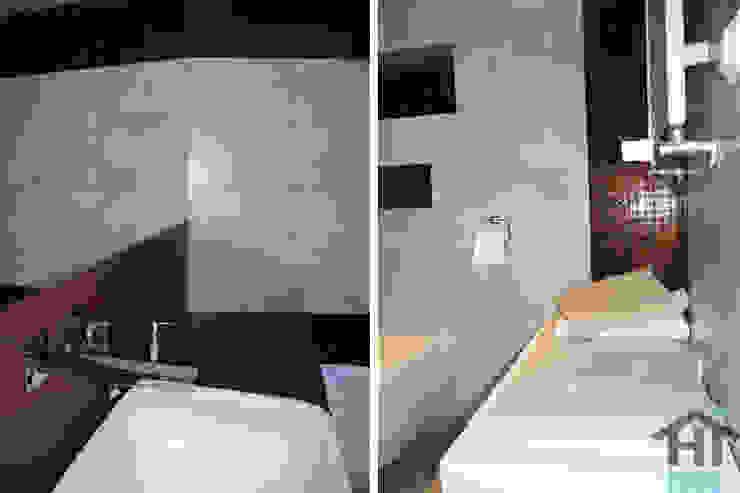 70m2 i skosy Nowoczesna łazienka od Hi home Nowoczesny Płytki