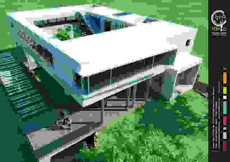 Fachada: Casas unifamiliares de estilo  por Rr+a  bureau de arquitectos - La Plata,Moderno