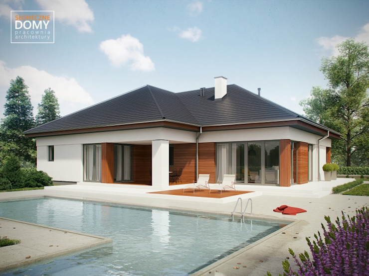 Casas modernas de Słoneczne Domy Pracownia Architektury Moderno