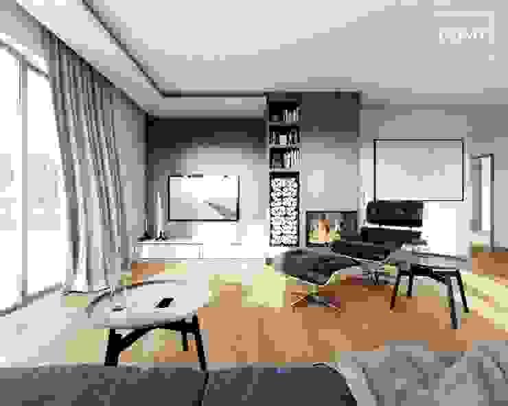 现代客厅設計點子、靈感 & 圖片 根據 Słoneczne Domy Pracownia Architektury 現代風