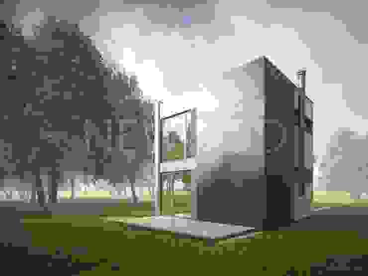 NEWOOD - Современные деревянные дома Balcone, Veranda & Terrazza in stile eclettico Legno Variopinto