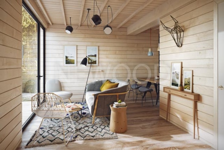 NEWOOD - Современные деревянные дома Soggiorno eclettico Legno Variopinto