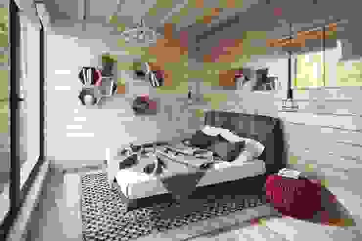 NEWOOD - Современные деревянные дома Eclectic style bedroom Wood Multicolored