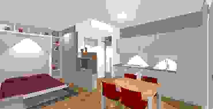 rendering lato cucina Cucina moderna di Bludiprussia design Moderno