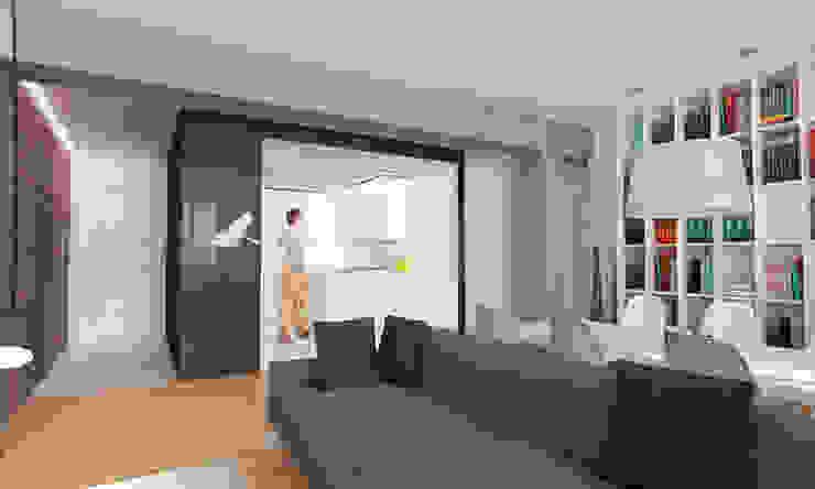 Infografía 3d del proyecto (salón-cocina):  de estilo  de auno50 interiorismo, Moderno
