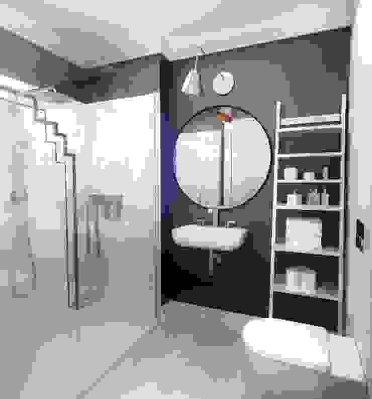 APARTAMENT POKAZOWY Gdynia Skandynawska łazienka od Just Interiors Skandynawski