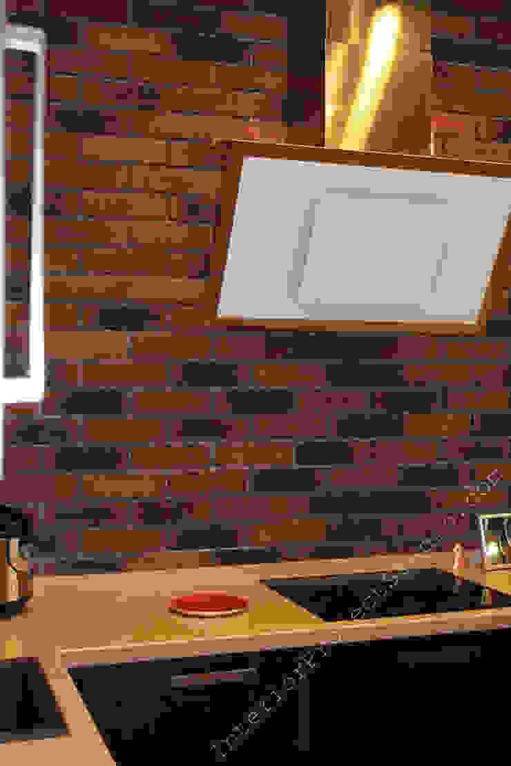 Фрагмент стены с клинкерной плиткой Feldhaus Klinker и современной вытяжкой Кухни в эклектичном стиле от INTERIOR PROJECT studio Эклектичный