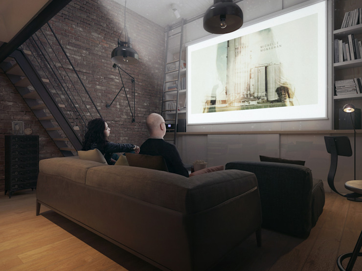 Industrial style media room by The Goort Industrial
