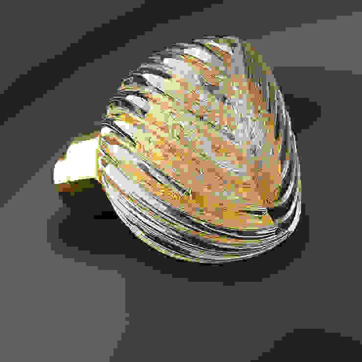 Bouton de porte Alberto Mix Or 24 carats et Argent pur par Les Verreries de Bréhat Moderne Verre