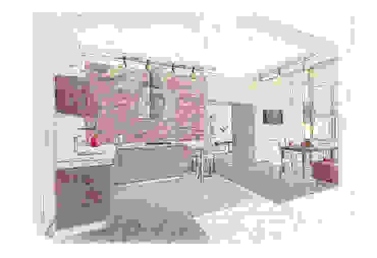 Эскиз кухни-гостиной. Ручная графика. от INTERIOR PROJECT studio Эклектичный
