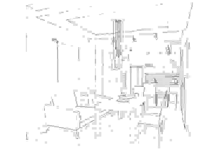 Эскиз гостиной-столовой. Ручная графика. от INTERIOR PROJECT studio Эклектичный