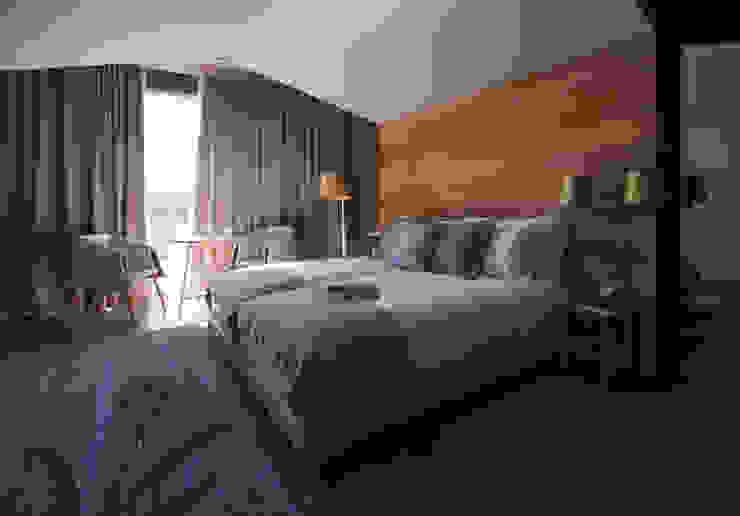 Temática do quarto alusiva à flor lavanda Tralhão Design Center Hotéis campestres