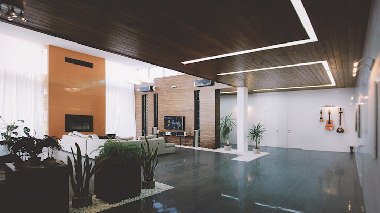 K–house Гостиная в стиле минимализм от yurima architects Минимализм Дерево Эффект древесины