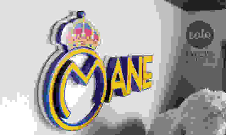 """Letrero """"Mane"""" con logo de Caio Espacios Infantiles Moderno"""
