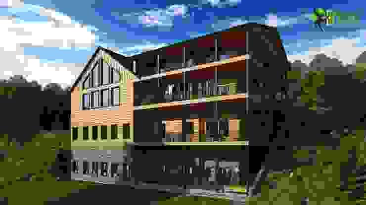 3D Exterior Back View Rendering Design: modern  by Yantram Architectural Design Studio, Modern