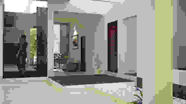 Hari C & Vanaja Residence Modern corridor, hallway & stairs by dd Architects Modern