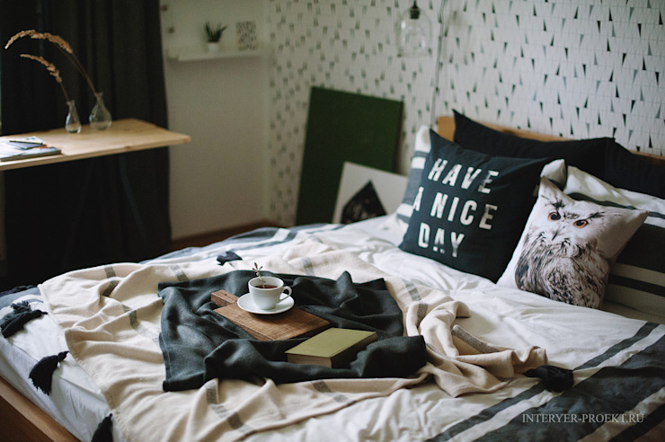 Квартира в скандинавском стиле Спальня в скандинавском стиле от ИНТЕРЬЕР-ПРОЕКТ.РУ Скандинавский