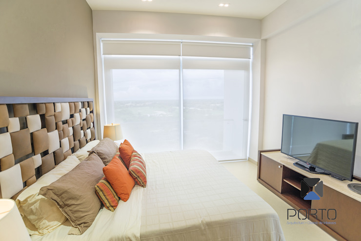"""Proyecto 'Penthouse Yucatan Country Club"""" Recámaras eclécticas de PORTO Arquitectura + Diseño de Interiores Ecléctico"""